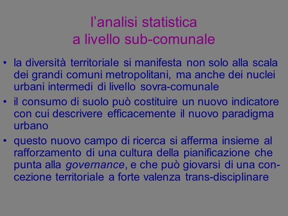 lanalisi statistica a livello sub-comunale la diversità territoriale si manifesta non solo alla scala dei grandi comuni metropolitani, ma anche dei nu