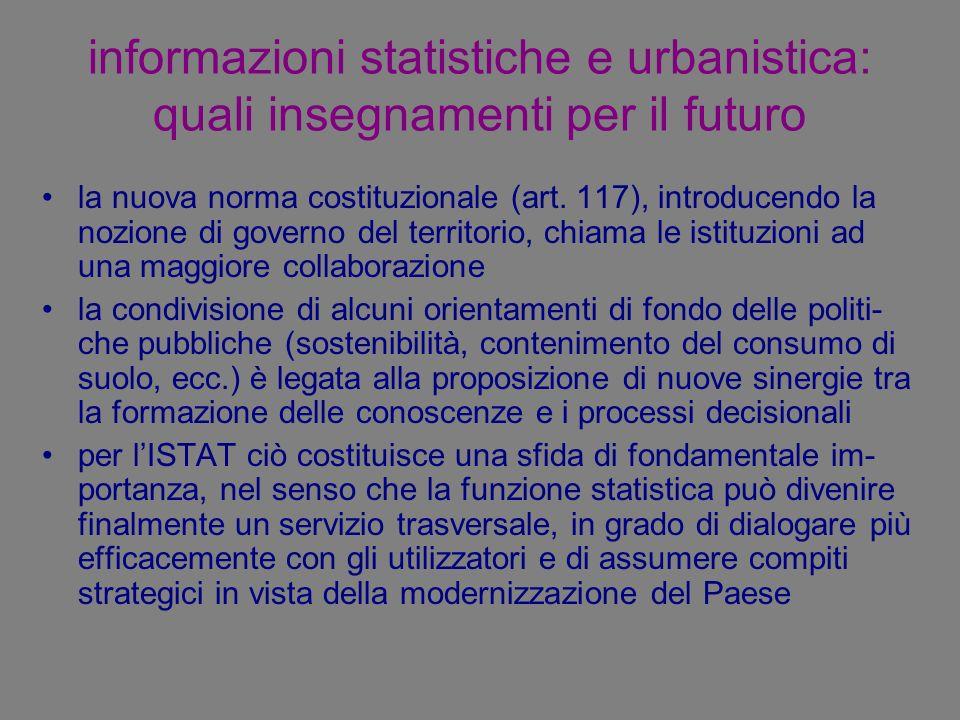 informazioni statistiche e urbanistica: quali insegnamenti per il futuro la nuova norma costituzionale (art. 117), introducendo la nozione di governo