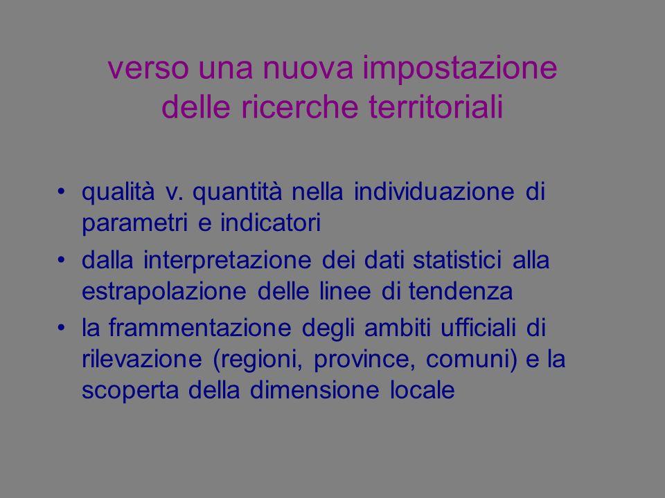 verso una nuova impostazione delle ricerche territoriali qualità v. quantità nella individuazione di parametri e indicatori dalla interpretazione dei