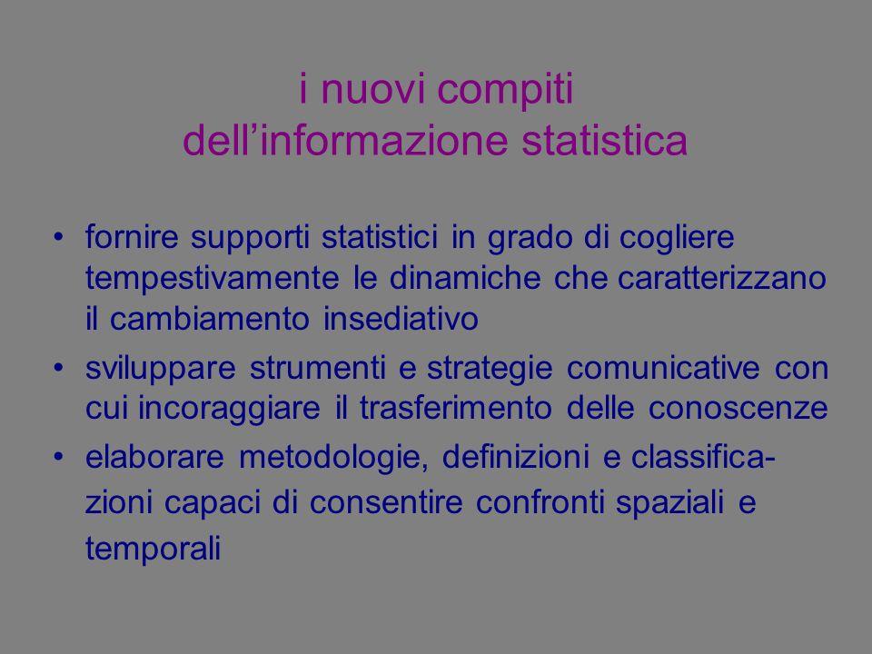 i nuovi compiti dellinformazione statistica fornire supporti statistici in grado di cogliere tempestivamente le dinamiche che caratterizzano il cambia