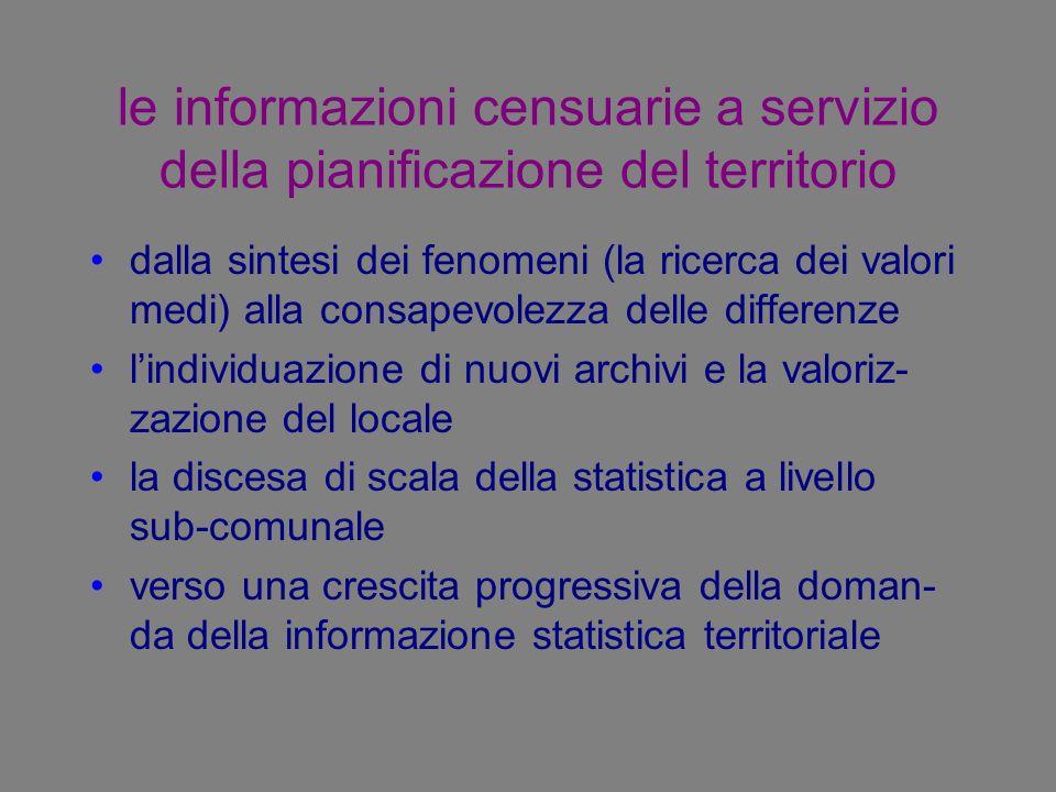 le informazioni censuarie a servizio della pianificazione del territorio dalla sintesi dei fenomeni (la ricerca dei valori medi) alla consapevolezza d