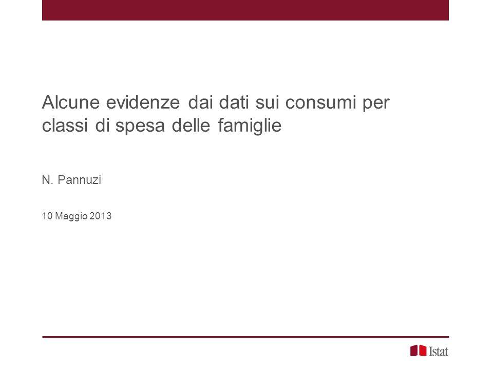 Alcune evidenze dai dati sui consumi per classi di spesa delle famiglie N. Pannuzi 10 Maggio 2013