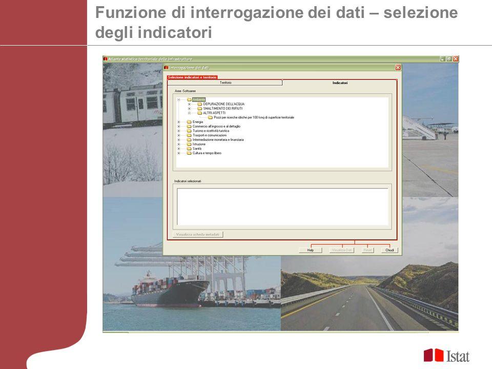 Funzione di interrogazione dei dati – selezione degli indicatori