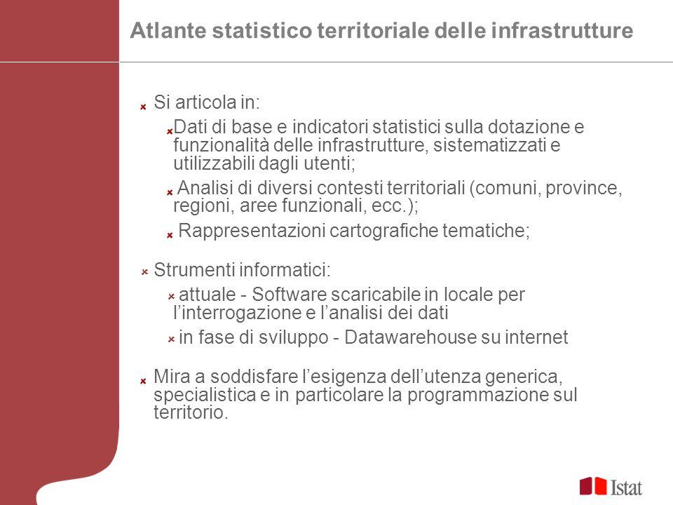 Si articola in: Dati di base e indicatori statistici sulla dotazione e funzionalità delle infrastrutture, sistematizzati e utilizzabili dagli utenti;