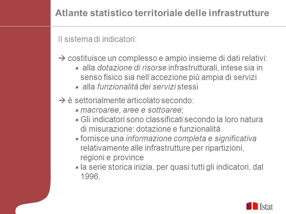 Il sistema di indicatori: costituisce un complesso e ampio insieme di dati relativi: alla dotazione di risorse infrastrutturali, intese sia in senso f