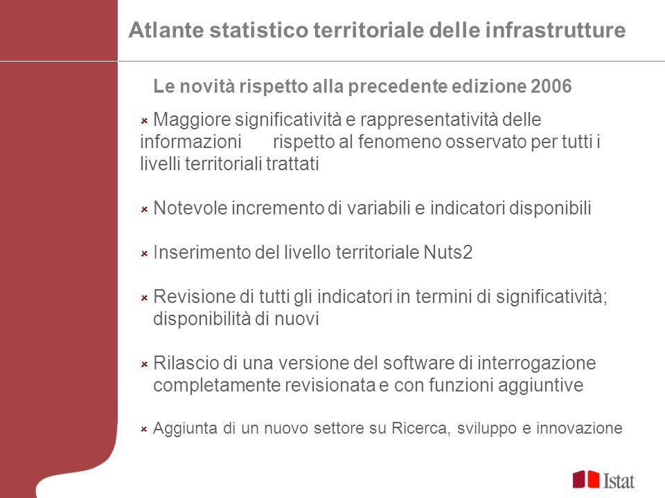Atlante statistico territoriale delle infrastrutture Le novità rispetto alla precedente edizione 2006 Maggiore significatività e rappresentatività del