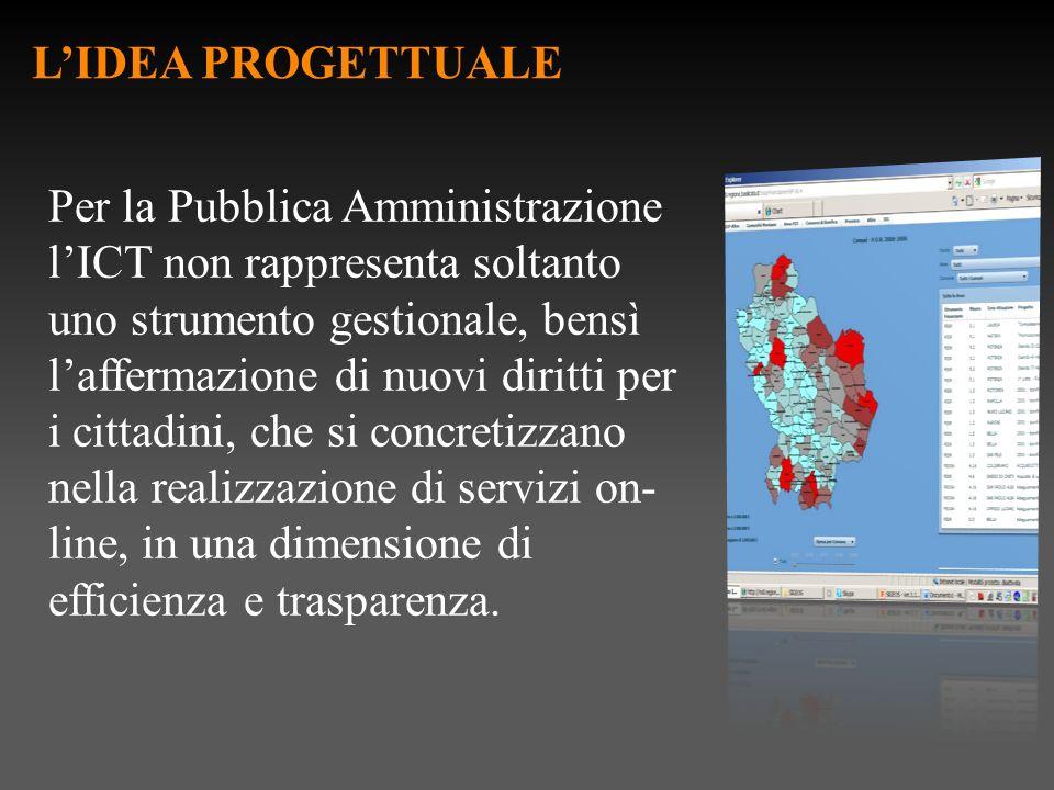 LIDEA PROGETTUALE Per la Pubblica Amministrazione lICT non rappresenta soltanto uno strumento gestionale, bensì laffermazione di nuovi diritti per i c
