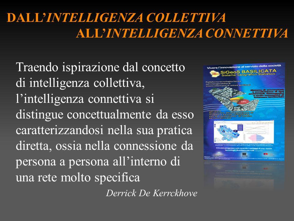 DALLINTELLIGENZA COLLETTIVA ALLINTELLIGENZA CONNETTIVA Traendo ispirazione dal concetto di intelligenza collettiva, lintelligenza connettiva si distingue concettualmente da esso caratterizzandosi nella sua pratica diretta, ossia nella connessione da persona a persona allinterno di una rete molto specifica Derrick De Kerrckhove