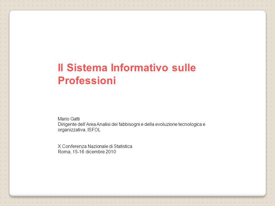 Il Sistema Informativo sulle Professioni Mario Gatti Dirigente dellArea Analisi dei fabbisogni e della evoluzione tecnologica e organizzativa, ISFOL X Conferenza Nazionale di Statistica Roma, 15-16 dicembre 2010