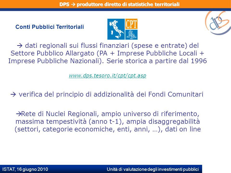 ISTAT, 16 giugno 2010 Unità di valutazione degli investimenti pubblici dati regionali sui flussi finanziari (spese e entrate) del Settore Pubblico Allargato (PA + Imprese Pubbliche Locali + Imprese Pubbliche Nazionali).