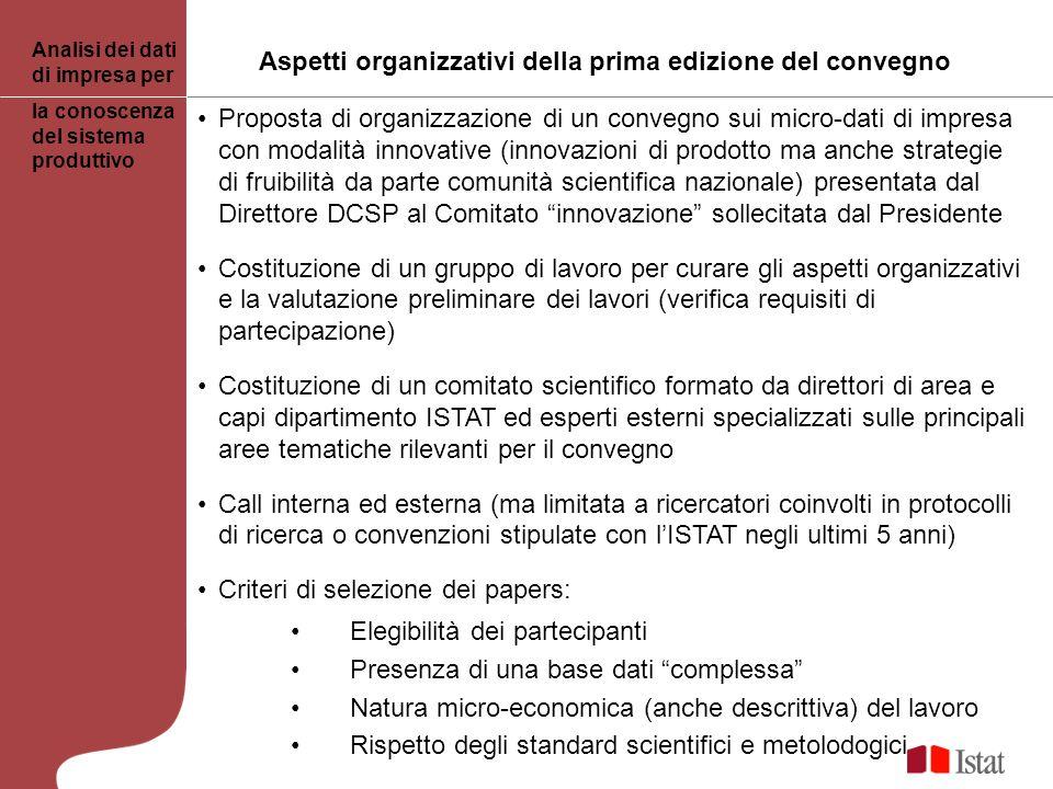 Proposta di organizzazione di un convegno sui micro-dati di impresa con modalità innovative (innovazioni di prodotto ma anche strategie di fruibilità