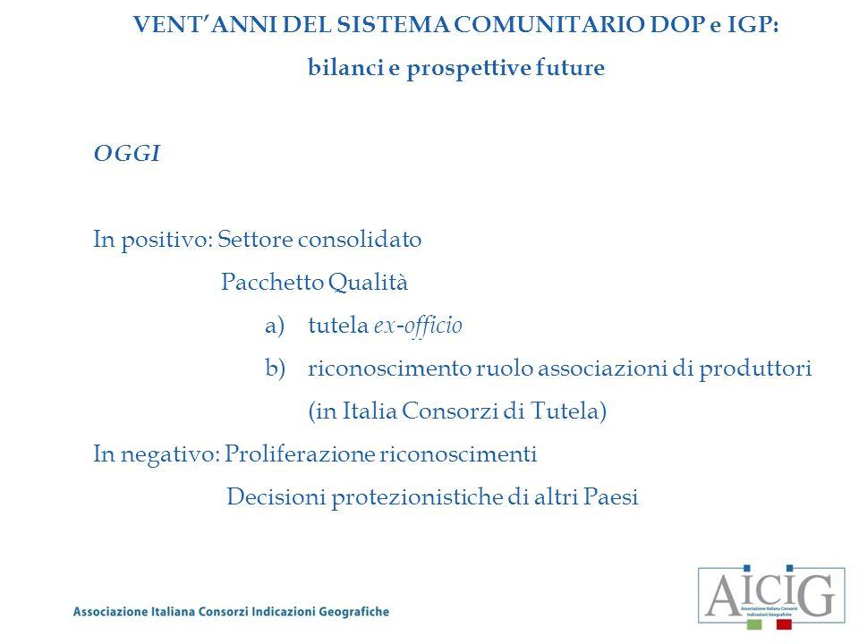 VENTANNI DEL SISTEMA COMUNITARIO DOP e IGP: bilanci e prospettive future DOMANI 1.