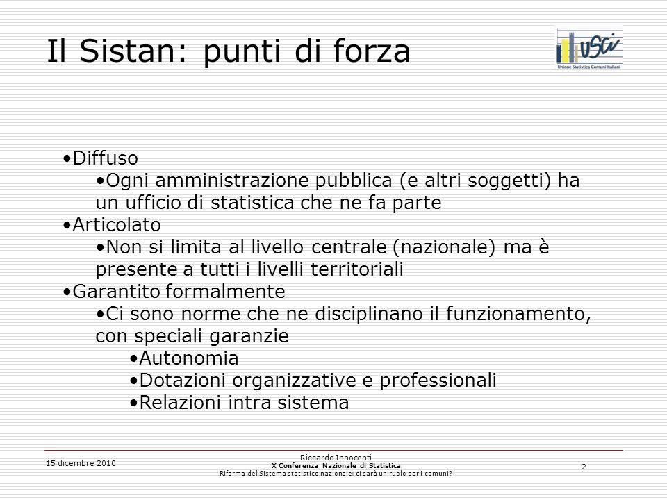 3 15 dicembre 2010 Riccardo Innocenti X Conferenza Nazionale di Statistica Riforma del Sistema statistico nazionale: ci sarà un ruolo per i comuni.