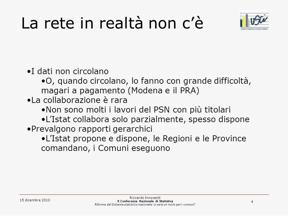 5 15 dicembre 2010 Riccardo Innocenti X Conferenza Nazionale di Statistica Riforma del Sistema statistico nazionale: ci sarà un ruolo per i comuni.