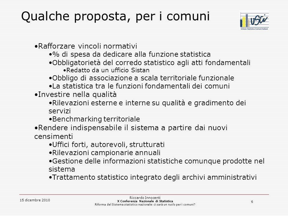 6 15 dicembre 2010 Riccardo Innocenti X Conferenza Nazionale di Statistica Riforma del Sistema statistico nazionale: ci sarà un ruolo per i comuni.