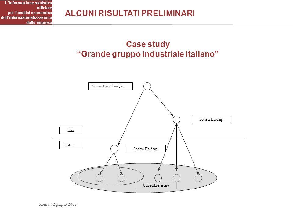 Linformazione statistica ufficiale per lanalisi economica dellinternazionalizzazione delle imprese Case study Grande gruppo industriale italiano Itali