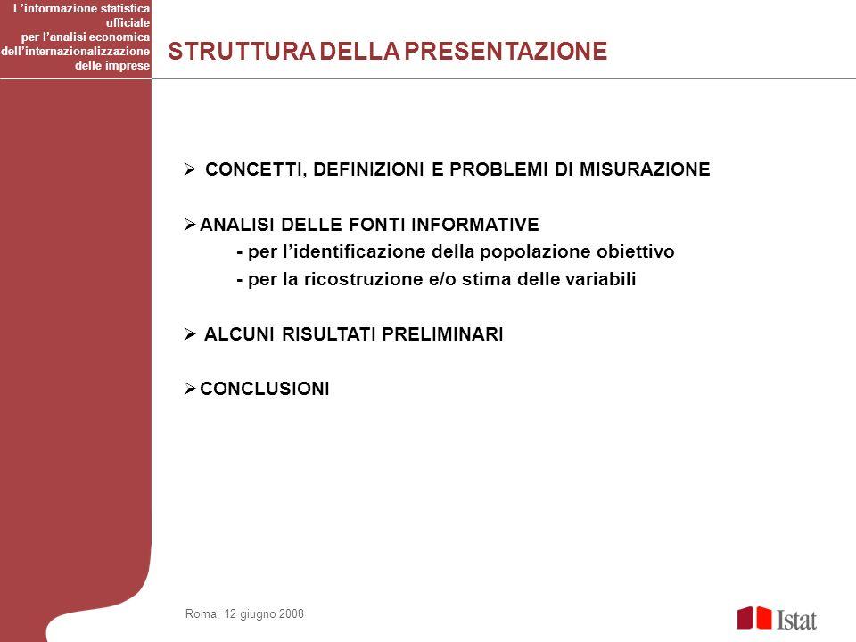 STRUTTURA DELLA PRESENTAZIONE Linformazione statistica ufficiale per lanalisi economica dellinternazionalizzazione delle imprese Roma, 12 giugno 2008