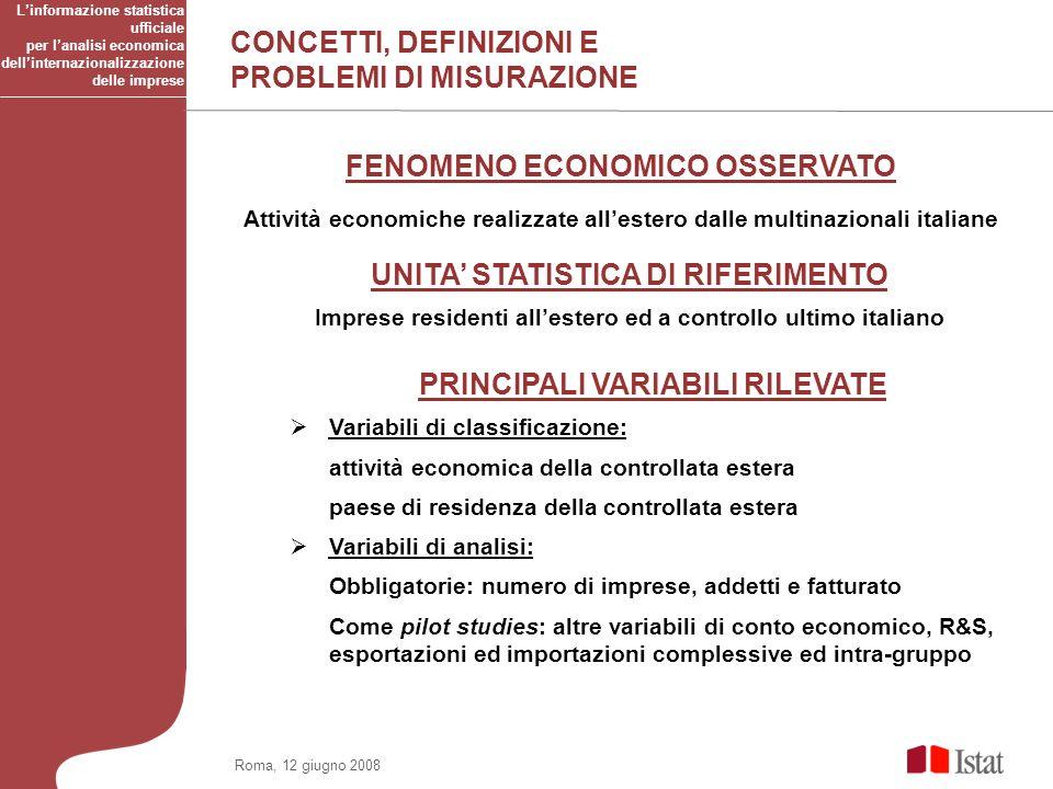Roma, 12 giugno 2008 PRINCIPALI VARIABILI RILEVATE Variabili di classificazione: attività economica della controllata estera paese di residenza della
