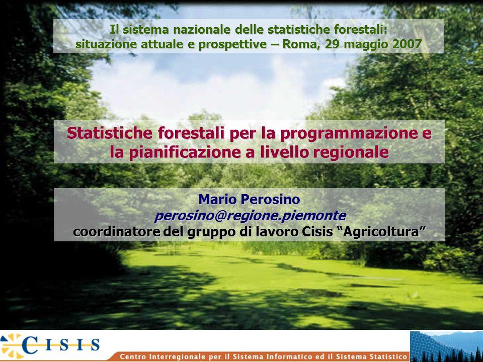 Statistiche forestali per la programmazione e la pianificazione a livello regionale Mario Perosino perosino@regione.piemonte coordinatore del gruppo d