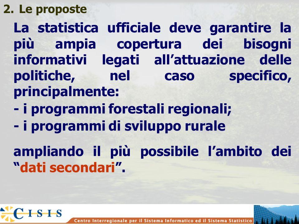 2.Le proposte La statistica ufficiale deve garantire la più ampia copertura dei bisogni informativi legati allattuazione delle politiche, nel caso specifico, principalmente: - i programmi forestali regionali; - i programmi di sviluppo rurale ampliando il più possibile lambito deidati secondari.