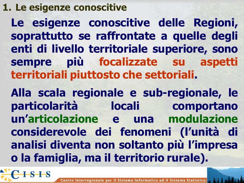 1.Le esigenze conoscitive Le esigenze conoscitive delle Regioni, soprattutto se raffrontate a quelle degli enti di livello territoriale superiore, son