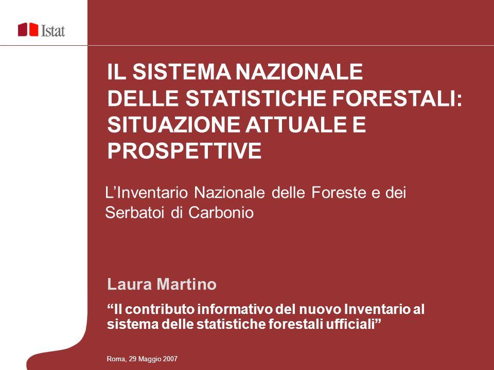 Laura Martino Il contributo informativo del nuovo Inventario al sistema delle statistiche forestali ufficiali LInventario Nazionale delle Foreste e dei Serbatoi di Carbonio IL SISTEMA NAZIONALE DELLE STATISTICHE FORESTALI: SITUAZIONE ATTUALE E PROSPETTIVE Roma, 29 Maggio 2007