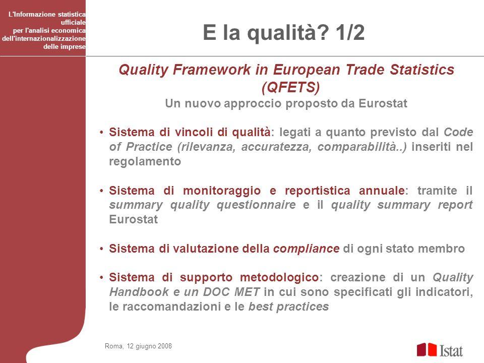 Roma, 12 giugno 2008 L'Informazione statistica ufficiale per l'analisi economica dell'internazionalizzazione delle imprese E la qualità? 1/2 Quality F