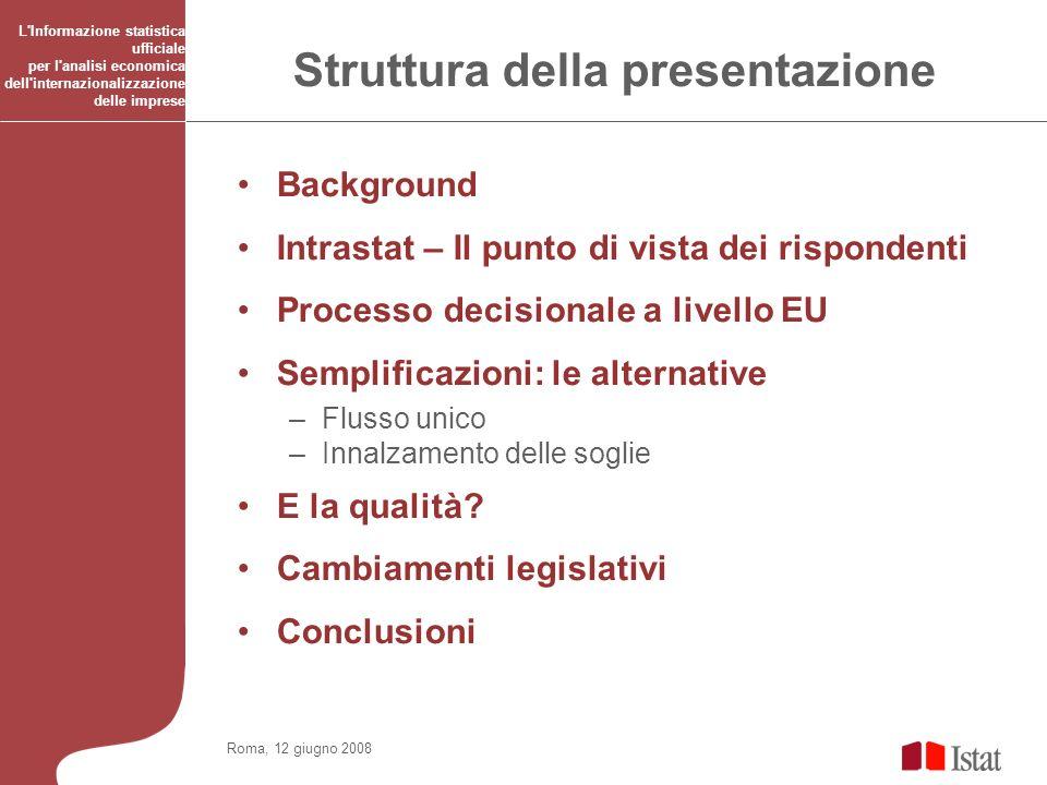 Roma, 12 giugno 2008 L'Informazione statistica ufficiale per l'analisi economica dell'internazionalizzazione delle imprese Struttura della presentazio