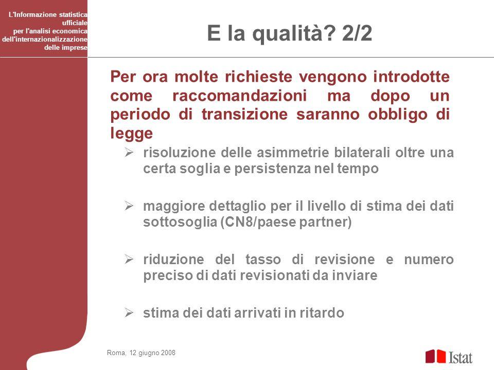 Roma, 12 giugno 2008 L'Informazione statistica ufficiale per l'analisi economica dell'internazionalizzazione delle imprese E la qualità? 2/2 Per ora m