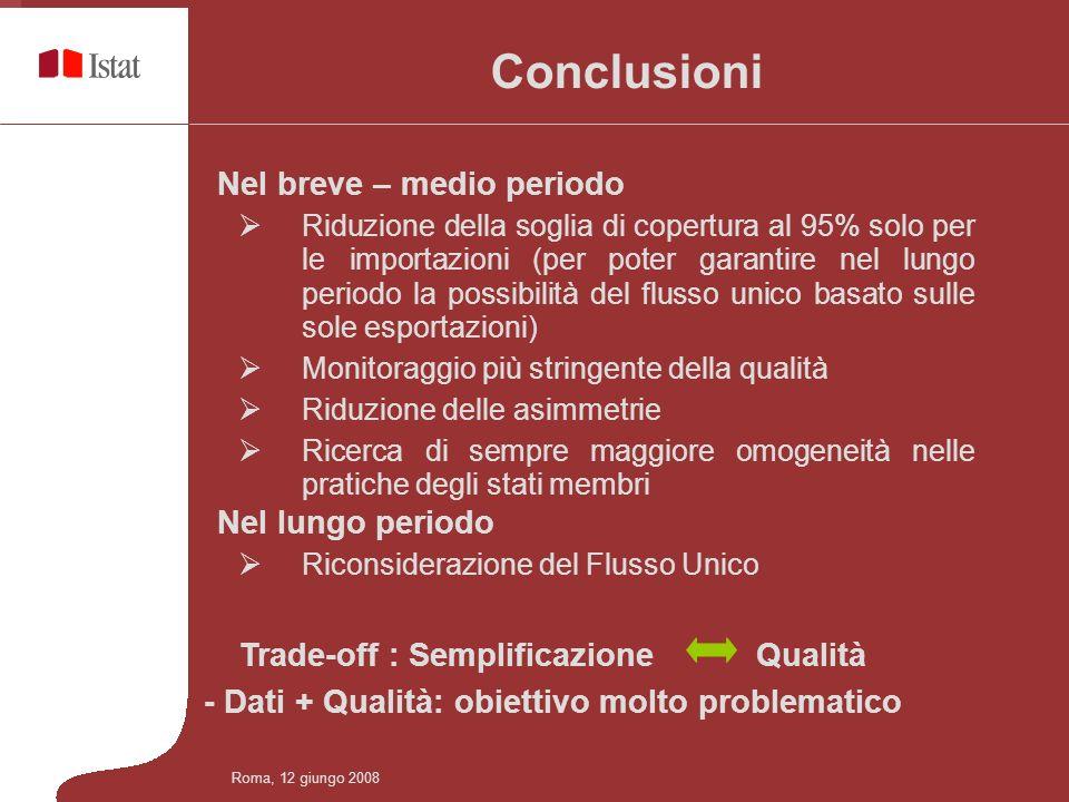 Roma, 12 giugno 2008 L'Informazione statistica ufficiale per l'analisi economica dell'internazionalizzazione delle imprese Conclusioni Trade-off : Sem