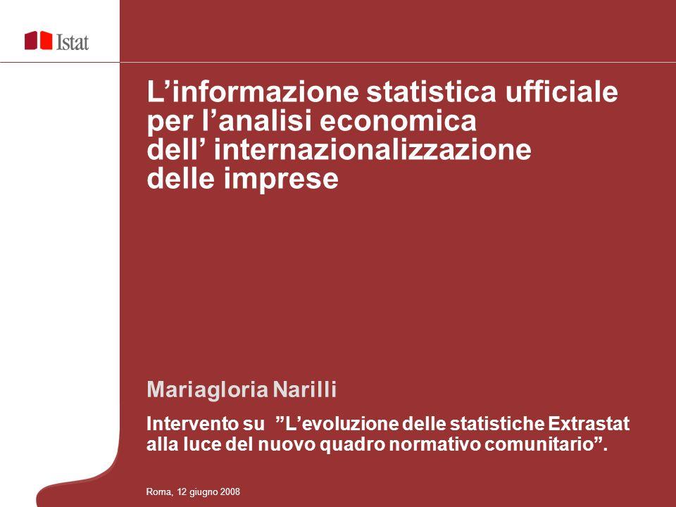Linformazione statistica ufficiale per lanalisi economica dei processi di internazionalizzazione del sistema delle imprese Mariagloria Narilli Intervento su Levoluzione delle statistiche Extrastat alla luce del nuovo quadro normativo comunitario.