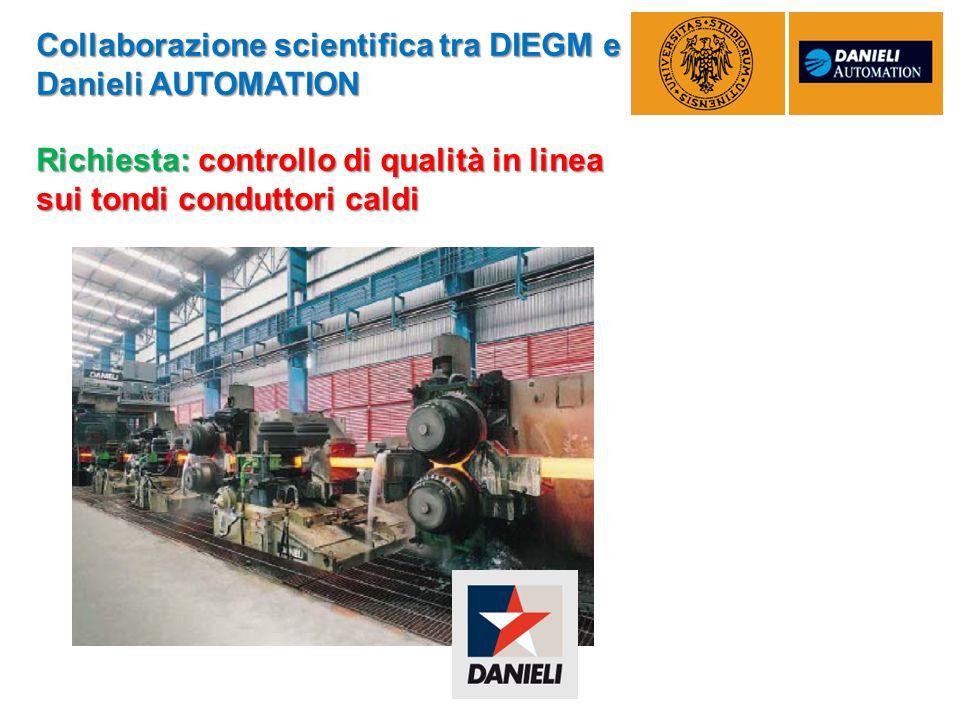 Collaborazione scientifica tra DIEGM e Danieli AUTOMATION Richiesta: controllo di qualità in linea sui tondi conduttori caldi
