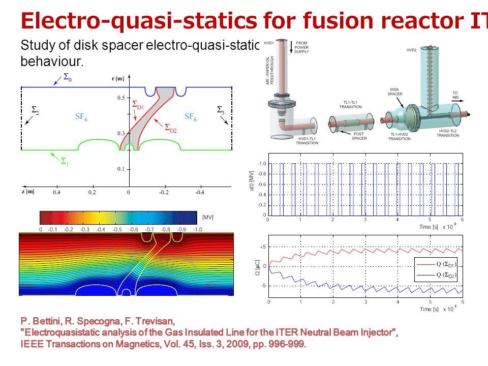 Electro-quasi-statics for fusion reactor ITER Study of disk spacer electro-quasi-static behaviour. P. Bettini, R. Specogna, F. Trevisan,