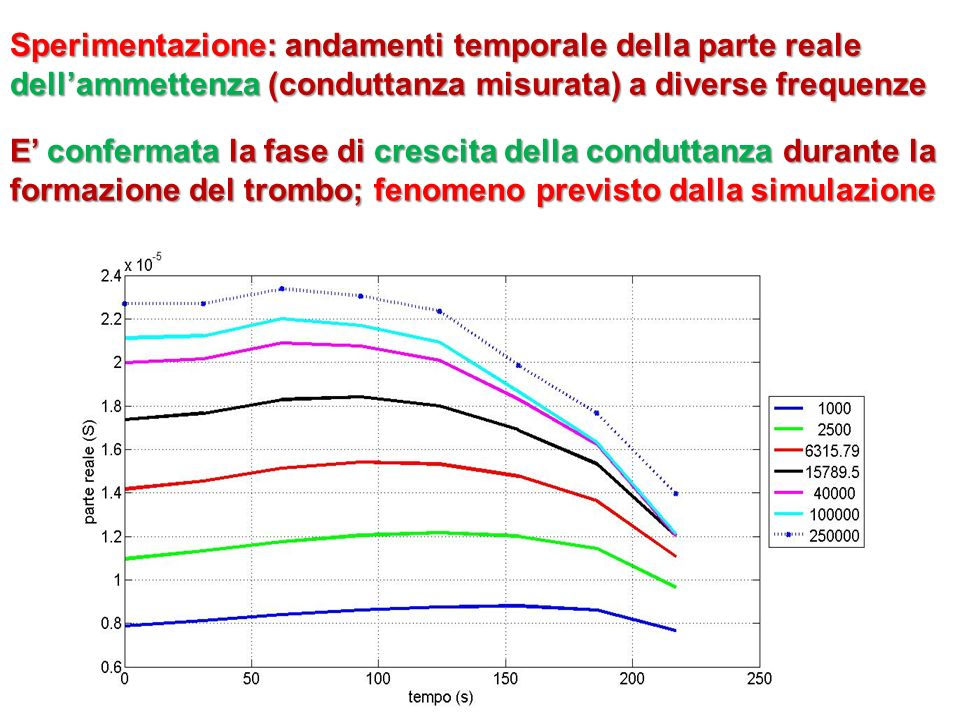 Sperimentazione: andamenti temporale della parte reale dellammettenza (conduttanza misurata) a diverse frequenze E confermata la fase di crescita dell