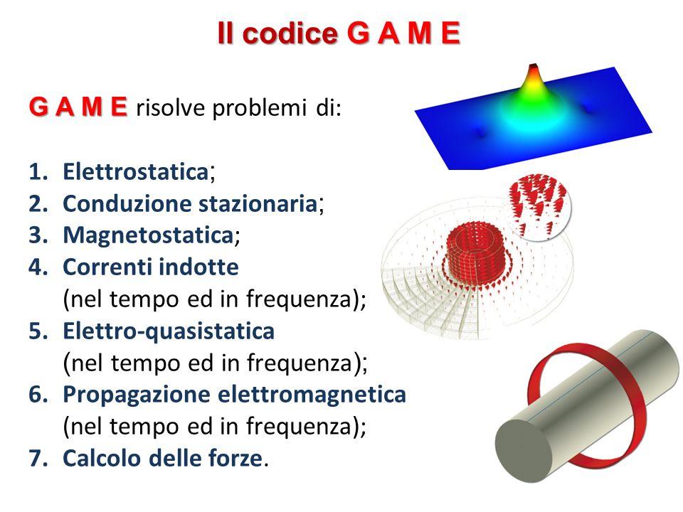 Il codice G A M E G A M E G A M E risolve problemi di: 1.Elettrostatica ; 2.Conduzione stazionaria ; 3.Magnetostatica; 4.Correnti indotte (nel tempo e
