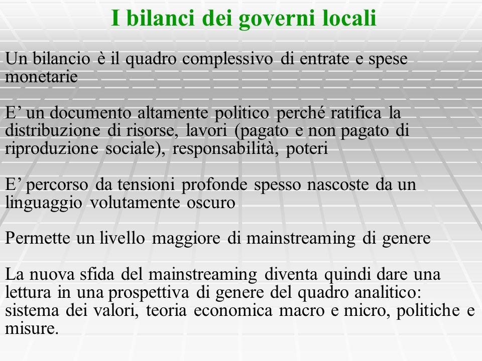 I bilanci dei governi locali Un bilancio è il quadro complessivo di entrate e spese monetarie E un documento altamente politico perché ratifica la dis