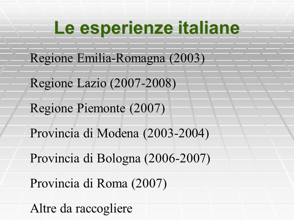 Le esperienze italiane Regione Emilia-Romagna (2003) Regione Lazio (2007-2008) Regione Piemonte (2007) Provincia di Modena (2003-2004) Provincia di Bologna (2006-2007) Provincia di Roma (2007) Altre da raccogliere