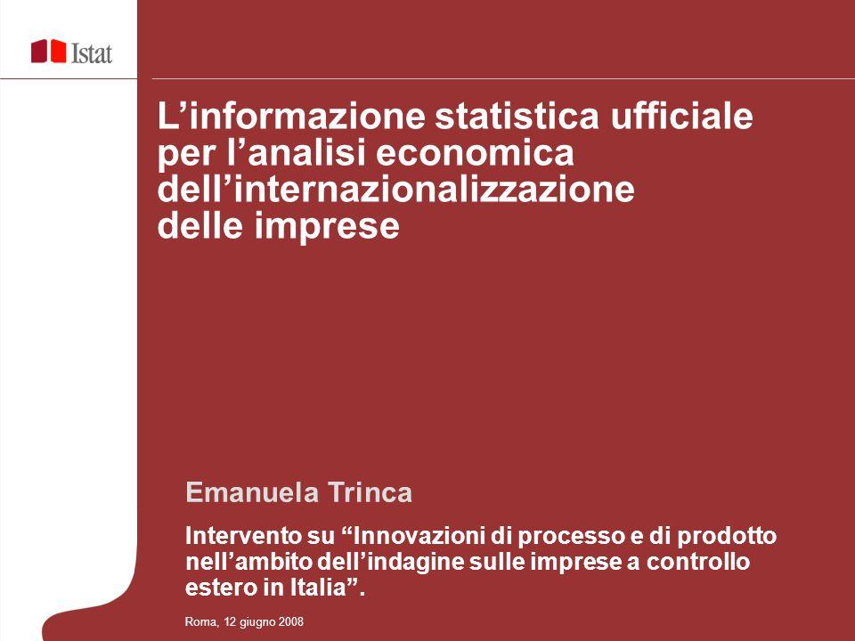 Emanuela Trinca Intervento su Innovazioni di processo e di prodotto nellambito dellindagine sulle imprese a controllo estero in Italia.