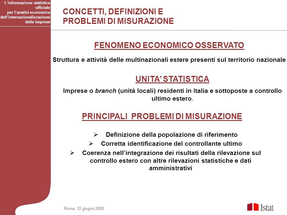 Roma, 12 giugno 2008 UNITA STATISTICA Imprese o branch (unità locali) residenti in Italia e sottoposte a controllo ultimo estero.