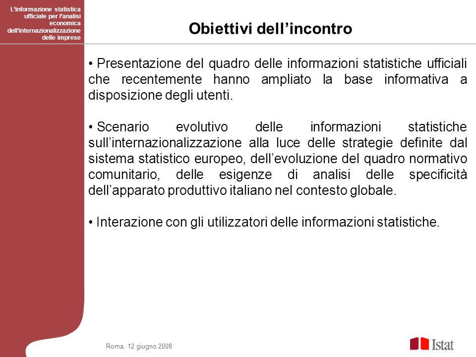 Roma, 12 giugno 2008 Obiettivi dellincontro Linformazione statistica ufficiale per lanalisi economica dellinternazionalizzazione delle imprese Present