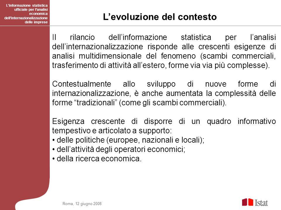 Roma, 12 giugno 2008 Levoluzione del contesto Linformazione statistica ufficiale per lanalisi economica dellinternazionalizzazione delle imprese Il ri