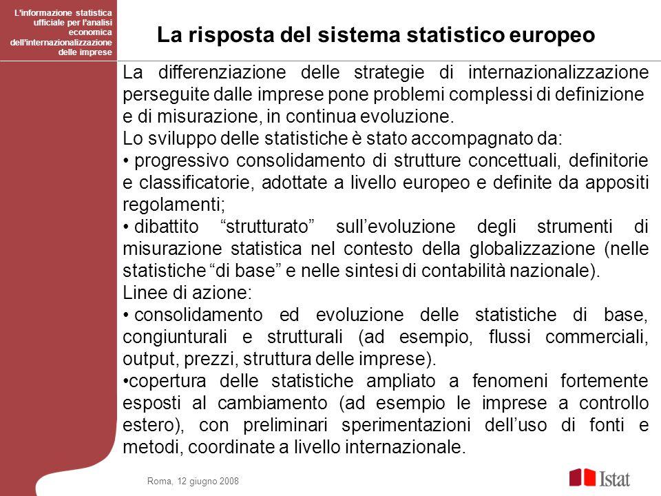 Roma, 12 giugno 2008 La risposta del sistema statistico europeo Linformazione statistica ufficiale per lanalisi economica dellinternazionalizzazione delle imprese La differenziazione delle strategie di internazionalizzazione perseguite dalle imprese pone problemi complessi di definizione e di misurazione, in continua evoluzione.
