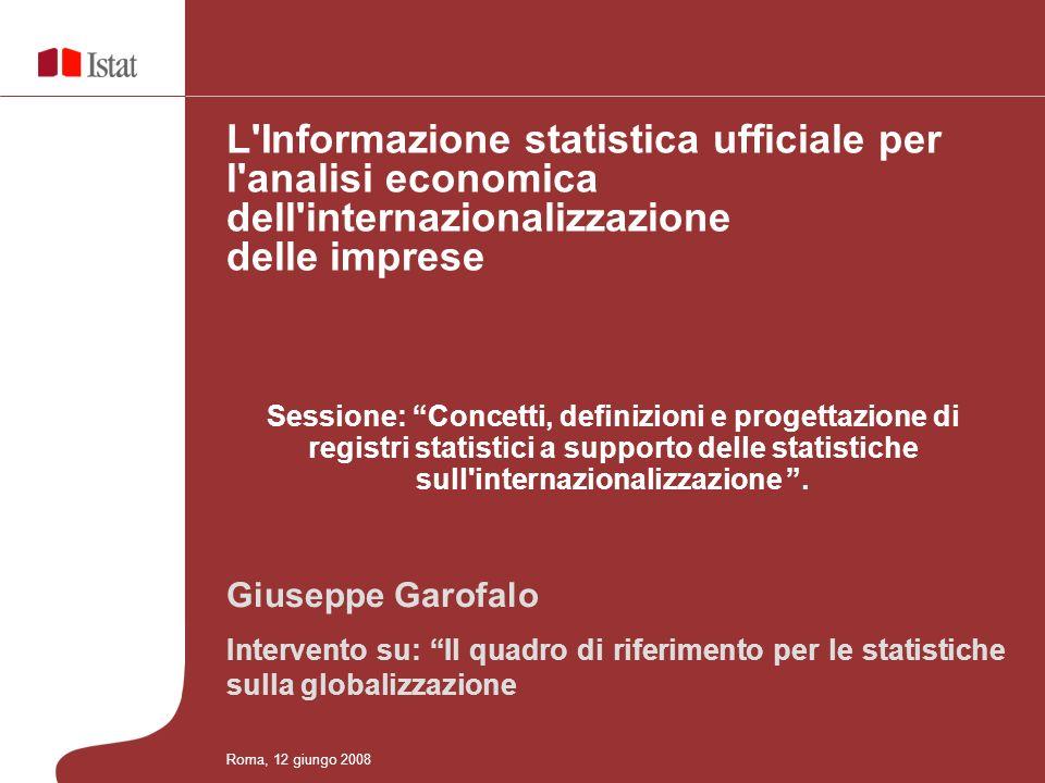 Sessione: Concetti, definizioni e progettazione di registri statistici a supporto delle statistiche sull internazionalizzazione.