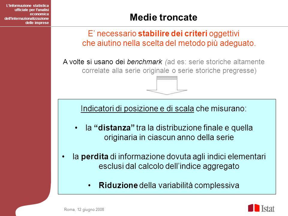 Roma, 12 giugno 2008 Medie troncate Linformazione statistica ufficiale per lanalisi economica dellinternazionalizzazione delle imprese E necessario st