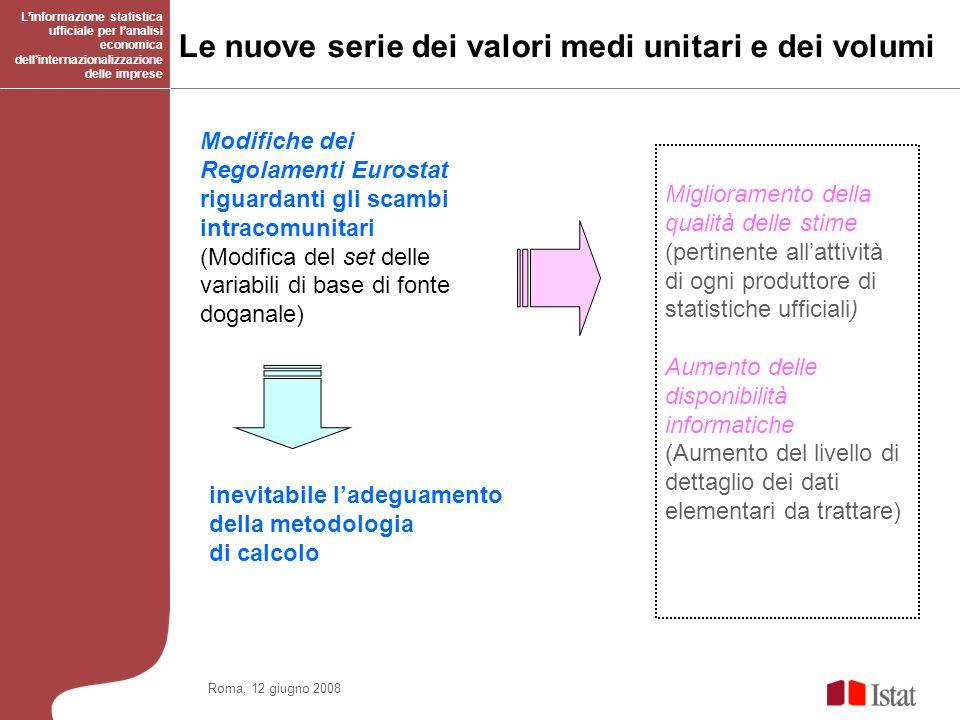 Le nuove serie dei valori medi unitari e dei volumi Linformazione statistica ufficiale per lanalisi economica dellinternazionalizzazione delle imprese