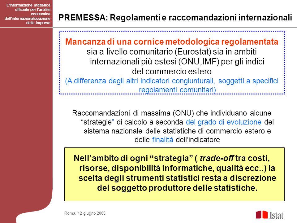 Linformazione statistica ufficiale per lanalisi economica dellinternazionalizzazione delle imprese Roma, 12 giugno 2008 Mancanza di una cornice metodo