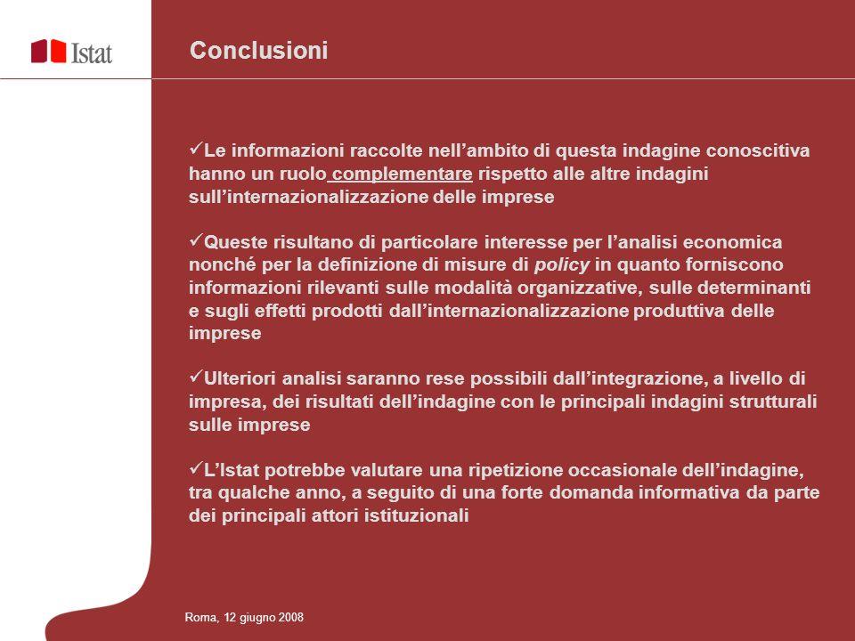 Conclusioni Le informazioni raccolte nellambito di questa indagine conoscitiva hanno un ruolo complementare rispetto alle altre indagini sullinternazi