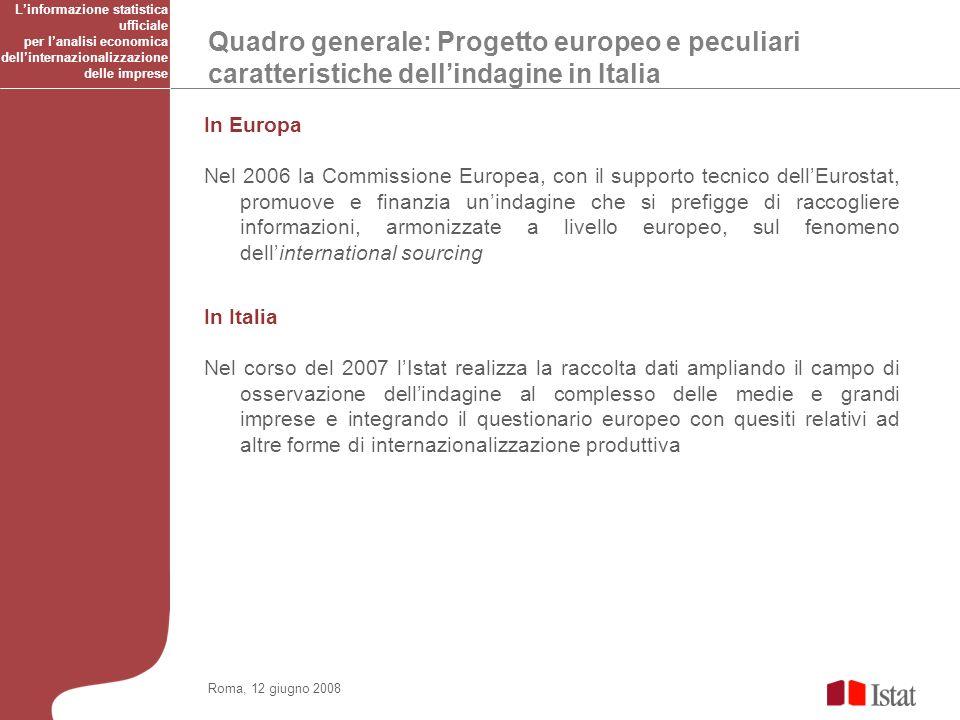 Quadro generale: Progetto europeo e peculiari caratteristiche dellindagine in Italia Roma, 12 giugno 2008 In Europa Nel 2006 la Commissione Europea, c