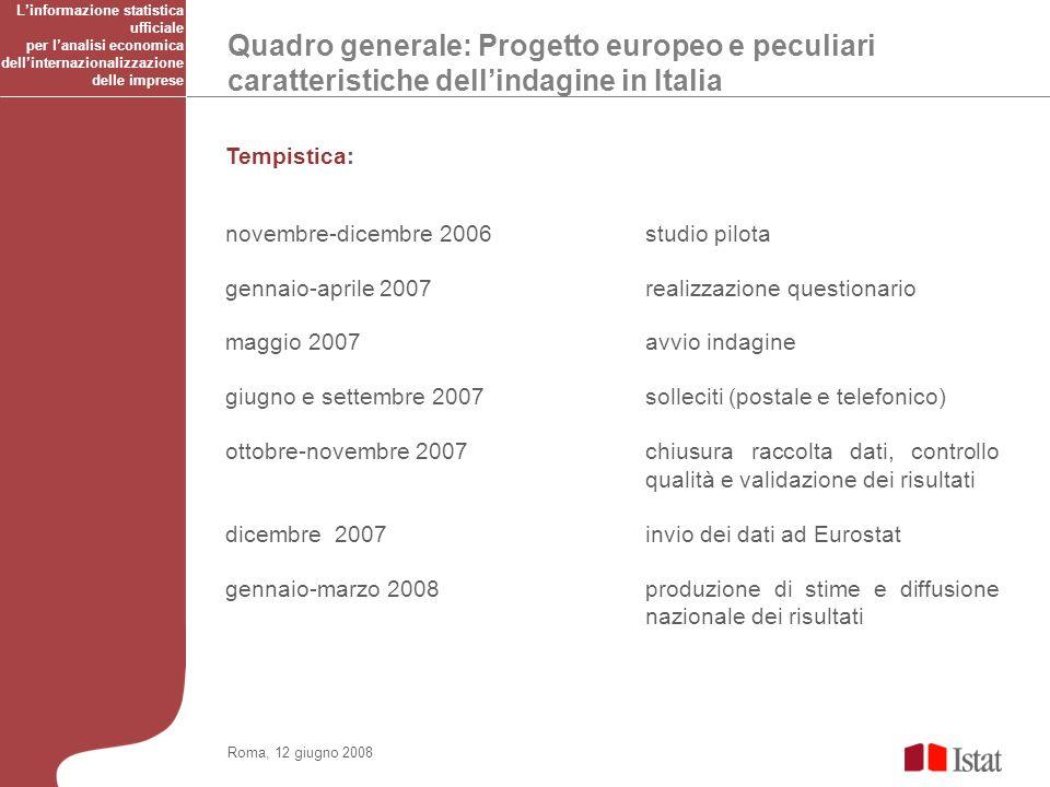 Quadro generale: Progetto europeo e peculiari caratteristiche dellindagine in Italia Roma, 12 giugno 2008 Tempistica: novembre-dicembre 2006 studio pi