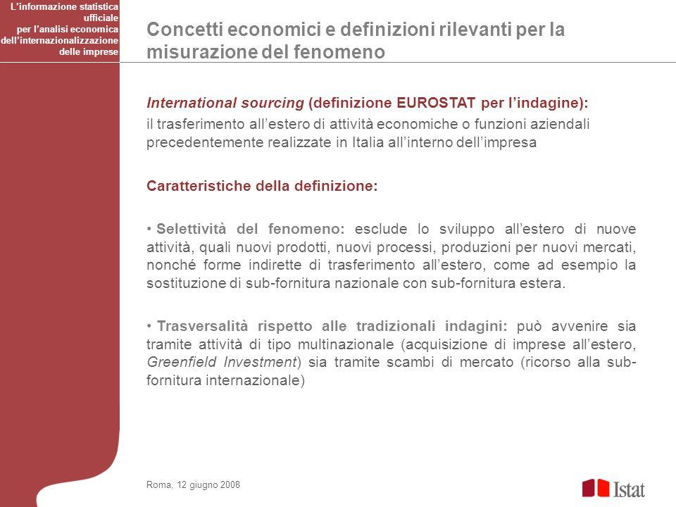 Concetti economici e definizioni rilevanti per la misurazione del fenomeno Roma, 12 giugno 2008 International sourcing (definizione EUROSTAT per linda